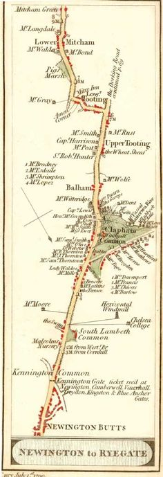 Map showing the road from Newington Butts south to Mitcham Green, 1st July 1790.