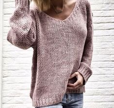V-neck Long Sleeve Easy Knitting Casual Pullover Save up to , V Neck Long Sleeve Plain Knitting Casual Sweaters , Sweaters Oversized Source by ebuytidecom Sweater Knitting Patterns, Knit Patterns, Free Knitting, Casual Sweaters, Pullover Sweaters, Sweaters For Women, Women's Sweaters, Loose Knit Sweaters, Sweaters Knitted