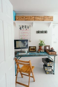 Scaramanga Vintage Office Furniture + photosbyzoe combined to make such a bright, stylish yet functional office space. We LOVE it! https://www.scaramangashop.co.uk/item/8733/2/New-In/Vintage-Office-In-A-Pack.html
