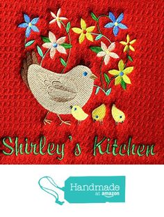 """Dish Drying Mat, Coffee Mat, Personalized, Customized, Chicken Design, Choice of Colors for Mat, Hen, and Flowers. (Option to add name) 16x18"""" S&T Mat, Machine Wash/Dry from Embroidery Hut https://www.amazon.com/dp/B01NA863TW/ref=hnd_sw_r_pi_dp_XFPAybJJV5C82 #handmadeatamazon"""