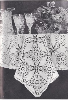 Vintage PDF Pattern for Rectangle Crocheted Cathedral Windows Tablecloth Motif INSTANT DOWNLOAD Diy Crochet Tablecloth, Cathedral Windows, Crochet Diagram, Bedspread, Vintage, Patterns, Paper, How To Make