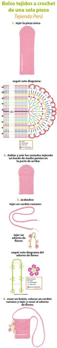 Vt. Monedero o bolsito tejido a crochet de una sola pieza (1 piece crochet purse)