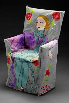 Hand Painted Chair Cover by Fran Rubinstein - Divine Inspirations