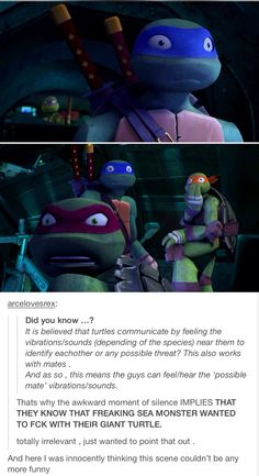 My parents watch TMNT with me and I always feel awkward watching that scene with them.