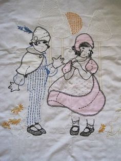 Sweet 1930's Antique Baby Embroidered Blanket Quilt Effanbee Dolls