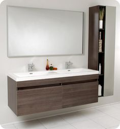 "57"" Fresca Largo (FVN8040GO) Gray Oak Modern Bathroom Vanity w/ Wavy Double Sinks :: Bathroom Vanities :: Bath Kitchen and Beyond"