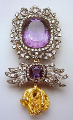 AMETHYST DIAMOND AND GOLD ORDER OF THE GOLDEN FLEECE~ collection of the Thurn und Taxis family.