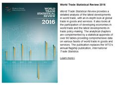 2016 News items - WTO launches new annual statistical publication World Organizations, 21 July, News Apps, World Trade, Goods And Services, Statistics, Bar Chart, Insight, Public