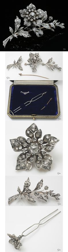 Diamond brooch/ hair pin. France, ca. 1880s, set en tremblant, old European cut , rose cut diamonds, silver, 18k gold, can be worn as two type of brooches, a hair pin, 4 × 7,5cm, 21,5g, with original case