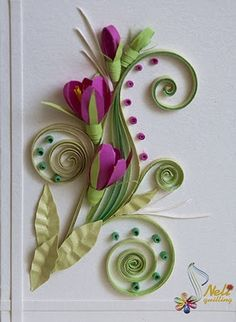 Quilling card-flower.