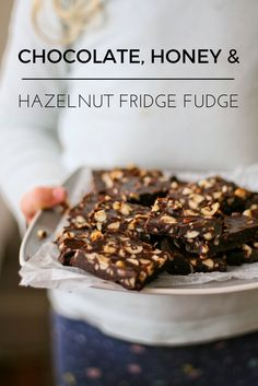 Easy melt in your mouth chocolate fridge fudge packed with toasted hazelnuts and sweetened with honey,