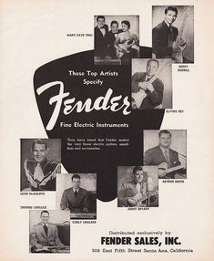 1956 FENDER GUITAR Music Advertisement Artists Mary Kaye & Buddy Merrill Ad by phorgotten