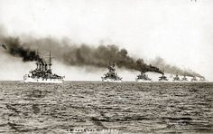 1907: The 16 battleships of the Great White Fleet, led by the USS Connecticut, begin their circumnavigation of the world, setting sail from Hampton Roads, Virginia. They wouldn't arrive home again until 26 months later, on Feb. 22, 1909. The voyage was ordered by President Theodore Roosevelt to demonstrate growing American military power and blue-water navy capability. The battleships from America's Atlantic Fleet got their name because their hulls were painted white, the Navy's peacetime…