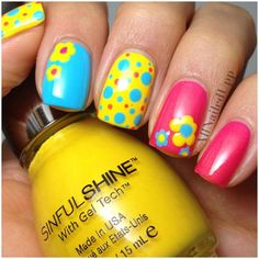 Crazy fun nail art videosfun nail art for kids Nailart Get Nails, Fancy Nails, Pretty Nails, Fingernail Designs, Cute Nail Designs, Yellow Nails, Bright Nails, Black Nails, Pink Yellow