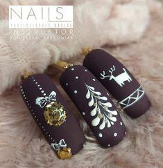 Chistmas Nails, Christmas Nails 2019, Xmas Nails, Holiday Nails, Creative Nail Designs, Beautiful Nail Designs, Nail Art Designs, Aycrlic Nails, Cute Nails