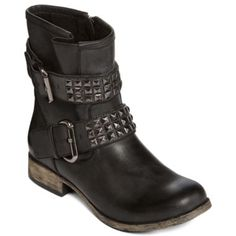 MIA girl Crusader Womens StuddedMotorcycle Boot Black Motorcycle boots like these