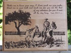 Laser Engraved Wood Plaque Horse Scene with by TimberCreekCountry