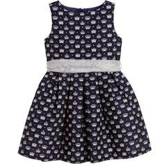 Charabia - Girls Navy Blue & Silver Crown Print Dress | Childrensalon