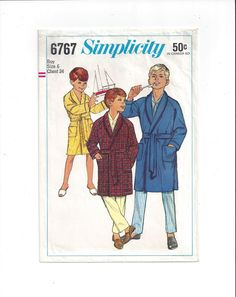 Simplicity 6767 Pattern for Boy's Robe, Size 6, From 1966, Raglan Sleeves, Tie, Vintage Pattern, Home Sewing Pattern, Boy Fashion Sewing by VictorianWardrobe on Etsy