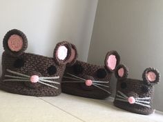 Crochet mouse storage baskets pattern