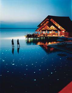 The Fuddan Fushi Grill at the Anantara Resort blends Maldivian flavors with international cuisine.
