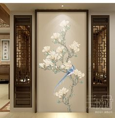 Fine Brushwork Chinoiserie Birds and Flowers Wallpaper Wall Mural, Oritental Chinoiserie Birds&Flowers for Wall Porch Corridor Wallpaper Flores Wallpaper, Wallpaper Wall, Glass Design, Door Design, House Design, Room Partition Designs, Open Wall, Cleaning Walls, Asian Decor