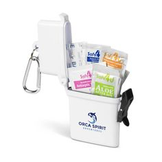 This Scout Water-Tight First Aid Kit contains Plasters, Antiseptic Towelettes, Hand Sanitizer, Sunscreen Lotion and After Sun Gel In A Water Proof Container Basic First Aid, First Aid Kit, After Sun, Hand Sanitizer, Corporate Gifts, Sunscreen, Towels, Lotion, Container