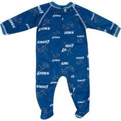 Detroit Lions Infant Full Zip All Over Print Raglan Coverall