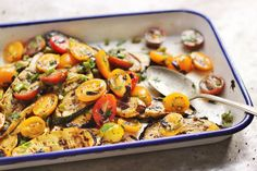 Balsamic Grilled Summer Squash with Lemony Garlic Scape Tomato Salad