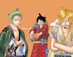 The Monster Trio in Wano Zoro, Luffy, and Sanji One Piece Crew, One Piece 1, One Piece Ship, One Piece Fanart, One Piece Manga, Zoro Nami, Sanji Vinsmoke, Kakashi Tattoo, Ace And Luffy