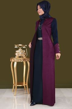 ** SONBAHAR / KIŞ ** Çift Renkli Süet Detay Elbise Mürdüm&Laci Ürün Kodu: YGS6006 --> 149.90 TL