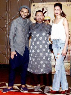 Ranveer Singh, Aamir Khan and Deepika Padukone at 'pk' success bash. Deepika Padukone In Jeans, Deepika Ranveer, Ranveer Singh, Dangal Aamir Khan, Salman Khan Photo, Trendy Mens Fashion, Diy Fashion, Bollywood Actors, Bollywood Fashion