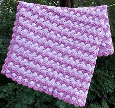 Pale Pink and Rose Chevron Blanket Crochet by sweetpeacollections