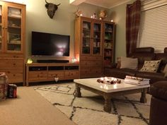 Living room. Farrow & Ball Mizzle walls, Ikea Hemnes furniture and Berber rug