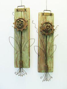 Rustic flowers on reclaimed wood