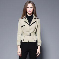 Hot Autumn winter short jackets Women outwear Slim Short Design Suit collar Coat soild color Outerwear send Sashes 2361