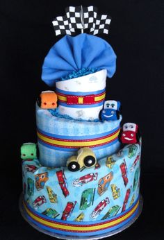 BABY SHOWER~Car themed Diaper Cake www.facebook.com/DiaperCakesbyDiana