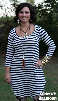 Too Chic To Quit Navy Blue and White Stripe Tunic Dress www.gugonline.com