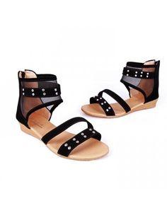 Indressme | Black Net Yarn zipper rivets Roman sandals style 705502 only $79.90 . #indressme