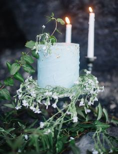 Mint blue and gold flecked cake