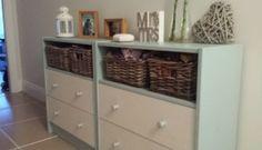 Ikea Hacks Rast uplifted for hallway Materials: RAST chest of drawers, EKBY LAIVA shelf, Byholma baskets