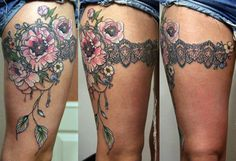 Color Flowers And Garter Lace Tattoo On Thigh by Anna Belozerova Barnaul