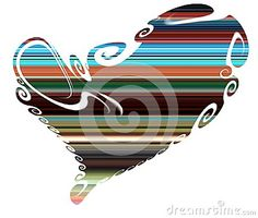 Isolated heart on white backgroud. Shaped lines heart in hues and forms and watercolor hues. Valentine image and design.