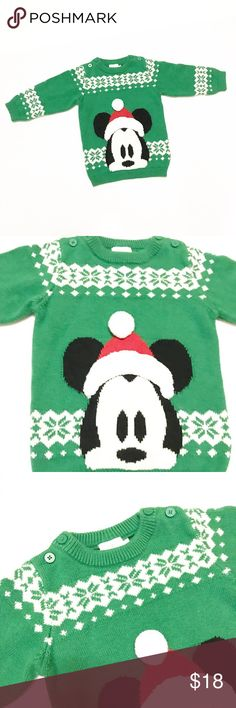 Disney Baby Green Mickey Mouse Christmas Sweater Excellent condition Mickey Mouse Christmas sweater! Perfect for little ones for the holiday season! Cotton blend, very soft. Size 18-24 months. Disney Shirts & Tops Sweaters