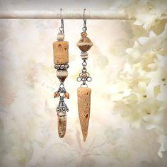 Unearthed - OOAK Asymmetrical Earrings Amber Tribal Earrings Caramel Cream Jasper Bali Sterling Silver Roman Glass Style Czech Picasso Glass, by MiaMontgomery on Etsy