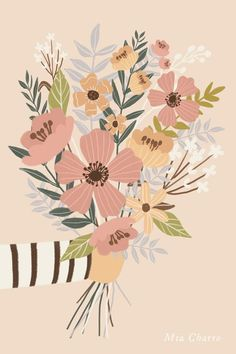Illustration & Watercolors Floral Bouquet by Mia Charro 6 Steps to Tremendous Smooth Trendy Hair Whe Illustration Noel, Plant Illustration, Graphic Design Illustration, Botanical Illustration, Digital Illustration, Floral Illustrations, Floral Bouquets, Graphic Prints, Art Inspo
