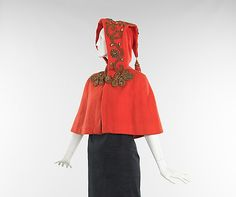 Red Wool Evening Cape with Hood, French, c. 1938.