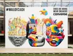 Converse #wallofclash - Experiencia de creatividad colaborativa en la que los artistas Okuda y Suso33 se dejaron guiar por las ideas de los usuarios vía twitter. Navega por la obra y descubre los tweets que lo hicieron posible.