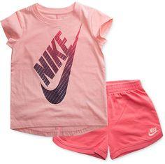 2a1f9af671 Nike 2-Pc. Logo-Print T-Shirt & Shorts Set, Little Girls & Reviews - Sets &  Outfits - Kids - Macy's