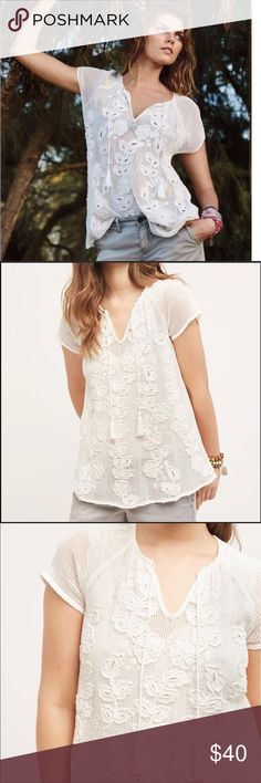 NWT Akemi + Kin by Anthropologie blouse XS Beautiful blouse that has crochet detailing size XS. This blouse is see through and has a beautiful neckline detailing. Akemi + Kin by Anthropolgie Tops Blouses